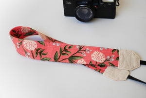 Pink camera strap, Rifle paper co peonies strap, cute DSLR strap