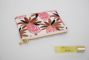 Small zipper pouch, coin purse, Banksia cream, Australia, cute zip bag