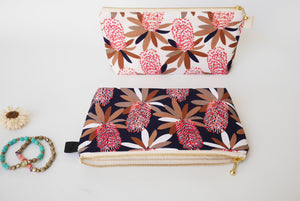 Navy cosmetic bag, banksia zipper pouch, small cosmetic pouch, Perth