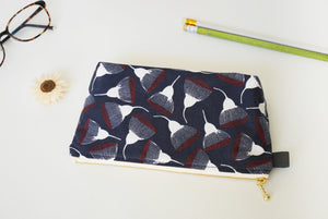 Navy zipper makeup pouch, cosmetic bag, gum nuts print Australia
