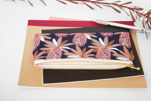 Fabric pencil case, navy pencil pouch, zipper pouch Australia, Banksia