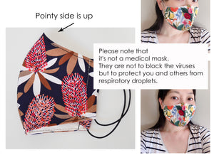 3 layered face mask, Australia print, cute mask for women, protea