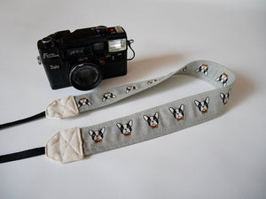 SLR DSLR camera strap, Boston terrier Grey, cute camera strap