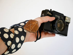 Polka dot DSLR camera strap, Black and White, cool camera strap