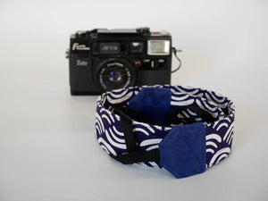 Organic cotton camera strap, dslr camera strap, Nikon, Seigaiha