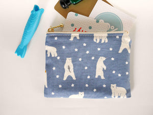 Blue coin purse, polar bear zipper pouch