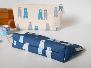 Cute canvas zipper pouch, polar bear pencil case, navy