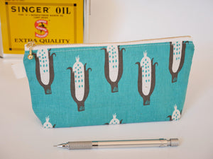 Mint green linen makeup pouch, corn green