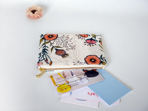 Cute small coin purse, floral zipper pouch, medicine pouch, Australia