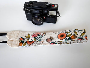 Wedding camera strap, DSLR neck strap for Canon and Nikon, Floral strap