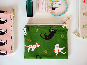 Cat zipper coin purse, notions pouch, gift for cat lover