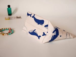 Canvas makeup bag, whale zipper pouch, fabric cosmetic bag