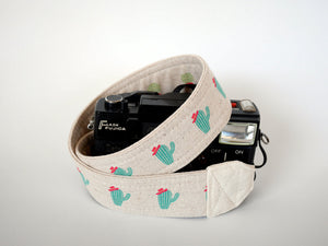 Camera strap, Canon neck strap, cacti, vegan camera strap