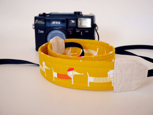 Dog camera strap, Dachshund Yellow, camera neck strap
