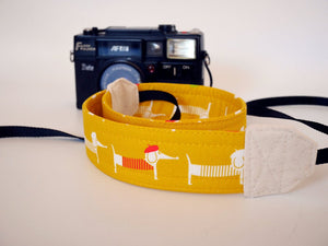 Dog camera strap, dachshunds DSLR camera strap, pink or yellow