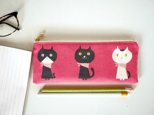 Cute cat zipper pencil pouch, canvas pencil case, Australia