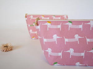 Cute makeup bag, dachshund canvas zipper pouch, pink