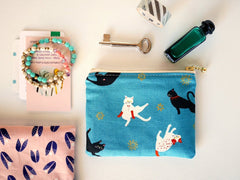 blue zipper pouch