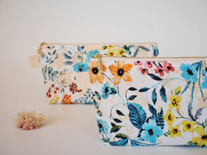 Floral zipper bag, pretty zipper pouch, white zipper pouch