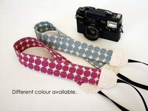 Canvas DSLR camera strap, camera neck strap, purple dot