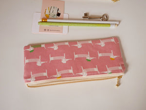 Cute pencil case, dog zipper pouch, canvas dachshund pink