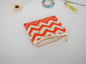 Linen zipper pouch, zipper coin purse, Orange