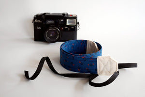 Pretty Floral camera strap, dark blue strap for women, Sony camera strap