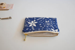 Navy zipper coin purse, medicine pouch, floral coin purse