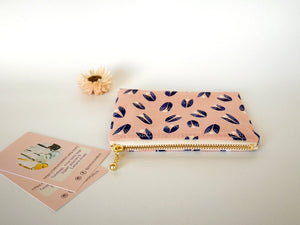Small coin purse with zipper, pink zipper card pouch, organic cotton