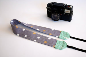 DSLR camera strap, polka dot coral pink or mint