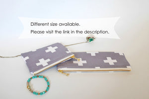 Cool pencil pouch cross print, grey pencil case, long zipper pouch