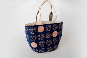 Cute shoulder tote bag, fabric bucket tote, yarn basket gift for knitter