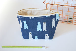 Blue cosmetic pouch, bear print
