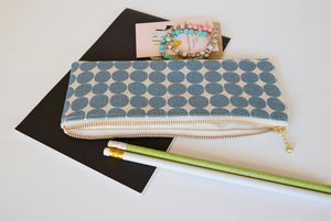 Long zipper pouch, canvas pencil case, polka dot blue gray