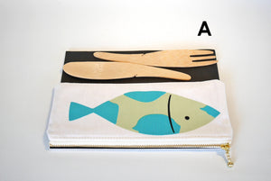 Long zipper pouch, cute pencil case, fish print zipper bag