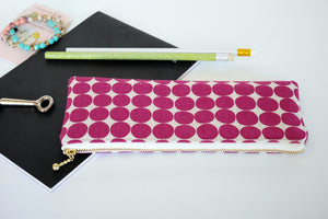 Canvas zipper pouch purple polka dot