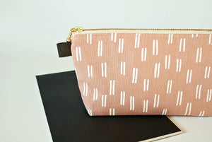Fabric pencil case, Pink linen zipper pouch, gift for student