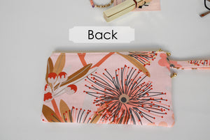 Wristlet clutch, double zipper pouch, gum flower pink