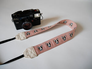 French bull dog camera strap, canvas DSLR strap, pink