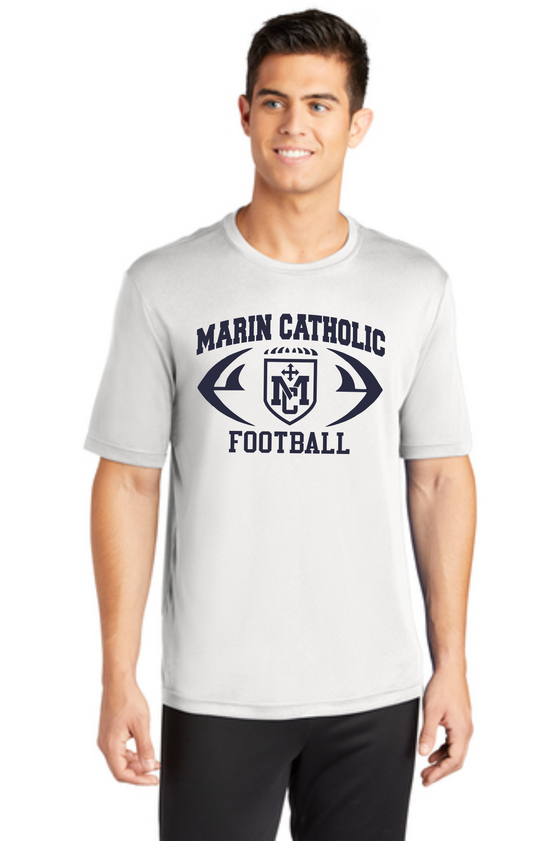 Marin Catholic Football White Workout T-Shirt