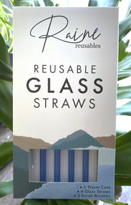 Ocean Blue Glass Straw Set