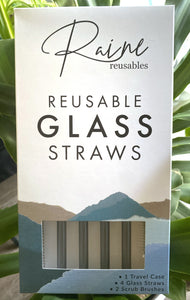 Storm Gray Glass Straw Set