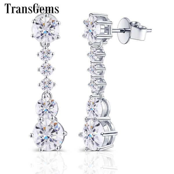 Details about  / 14K White Gold Finish 7mm Round Cut Moissanite Women/'s Drop /& Dangle Earrings