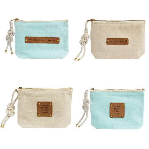 Beach Leather Patch Pouch