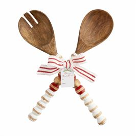 Beaded Wood Salad Server Set