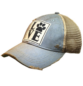 Love (PAW) Distressed Trucker Cap