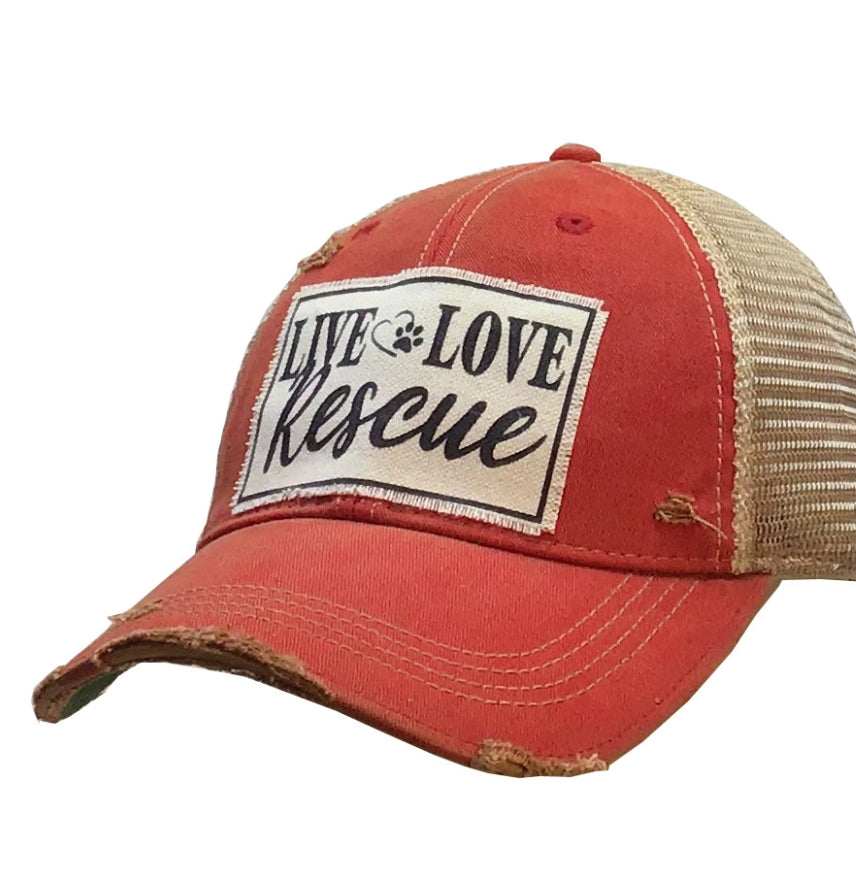 Live Love Rescue Distressed Trucker Hat