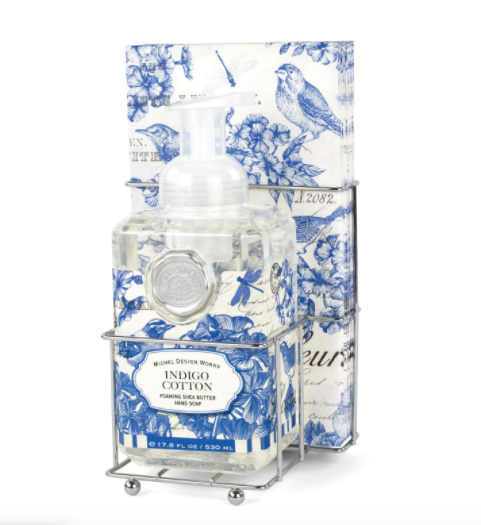 Michel Design Works Indigo Cotton Foaming Hand Soap Napkin Set