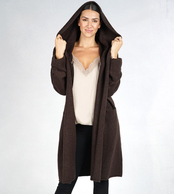 Cut Loose Hooded Open Cardigan