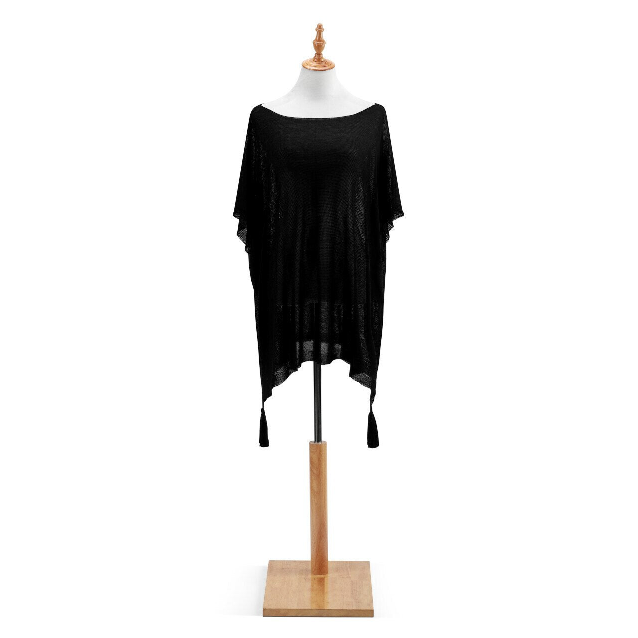 Fine Knit Poncho Black